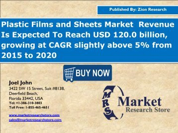 Global Plastic Films and Sheets Market Set for Rapid Growth, To Reach Around USD 120.0 Billion by 2020
