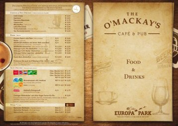 Speisekarte O Mackays Cafe and Pub Europa-Park