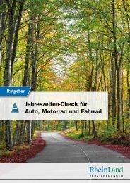 Ratgeber RheinLand Versicherungen – Jahrescheck für Auto, Motorrad und Fahrrad