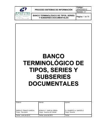 TIPOS SERIES Y SUBSERIES DOCUMENTALES