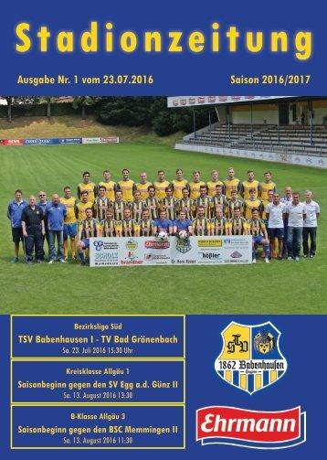201600723 Stadionzeitung TSV Babenhausen - TV Bad Grönenbach