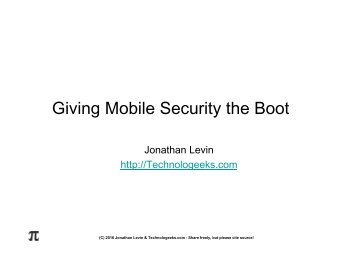 Giving Mobile Security the Boot