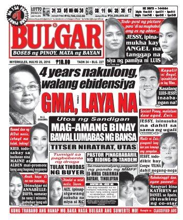 July 20, 2016 BULGAR: BOSES NG PINOY, MATA NG BAYAN