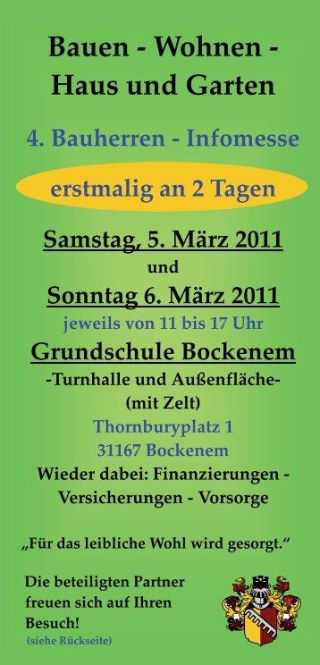 Infomesse erstmalig an 2 Tagen Samstag, 5. März 2011 und ...