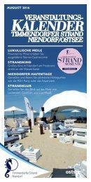 Veranstaltungen August 2016 in Timmendorfer Strand und Niendorf Ostsee