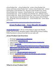 eCom Product List Review-$9700 Bonus & 80% Discount