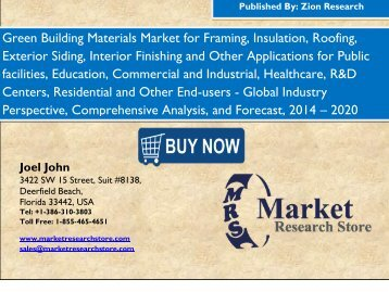 Global Green Building Materials Market Is Anticipated To Hit USD 255 Billion by 2020