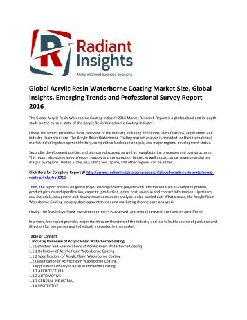 Global Acrylic Resin Waterborne Coating Market Global Insights and Professional Survey Report 2016