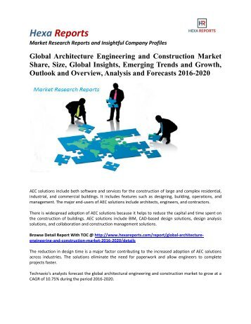 Global Architecture Engineering and Construction Market Size, Emerging Trends and Outlook 2016-2020 By Hexa Reports