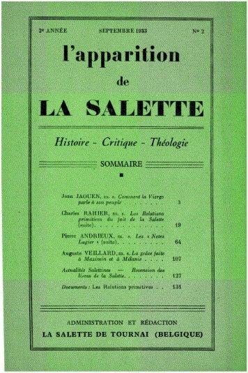 FR_L'APPARITION DE LA SALETTE - HISTOIRE- CRITIQUE - THEOLOGIE