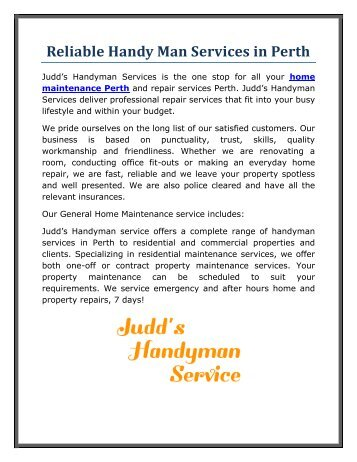 Reliable Handy Man Services in Perth