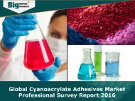 Global Cyanoacrylate Adhesives Market Report 2016 - Analysis, Size, Share, Growth, Trends, Forecast
