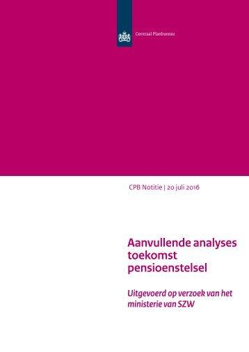 Aanvullende analyses toekomst pensioenstelsel
