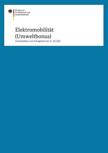 Elektromobilität (Umweltbonus)