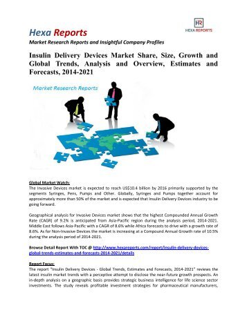 Insulin Delivery Devices Market Share, Growth and Forecasts, 2014-2021: Hexa Reports