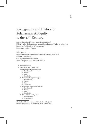 Iconography and History of Solanaceae
