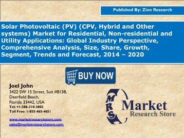 Global Solar PV Market Set for Rapid Growth, To Reach USD Around 148.5 Billion By 2020