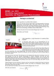 MEMO. Jan. 2012 Kirchliche Jugendarbeit Newsletter der ...