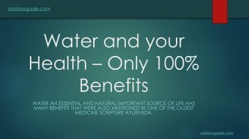 Water and your Health - Only 100%  benefits