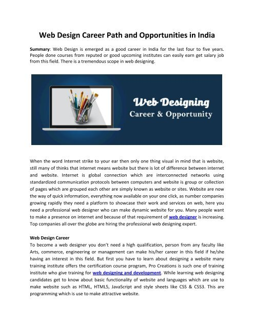Web Design Career Path And Opportunities In India