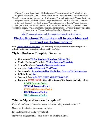 Vlydeo Business Templates review - Vlydeo Business Templates (MEGA) $23,800 bonuses