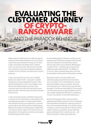 Evaluating the Customer Journey of Crypto- Ransomware