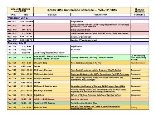 IANDS 2016 Conference Schedule -- 7/28-7/31/2016