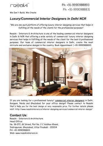 Luxury/Commercial Interior Designers In Delhi NCR
