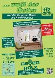 Sommer-Aktionswochen Geyer Holz