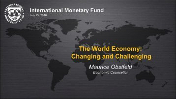 The World Economy Changing and Challenging