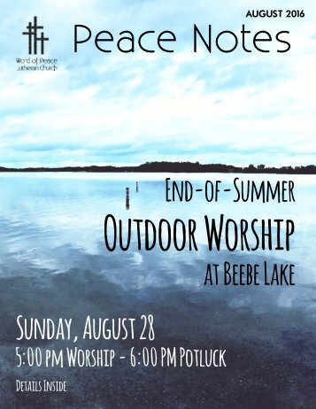 Peace Notes August 2016 - Word of Peace Lutheran Church