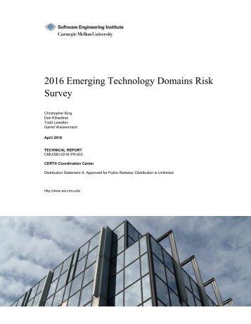 2016 Emerging Technology Domains Risk Survey