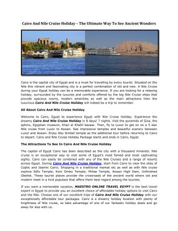Cairo And Nile Cruise Holiday – The Ultimate Way To See Ancient Wonders