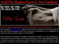World-Class Bangalore Escorts for Sexual Satisfaction