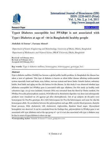 Type2 Diabetes susceptible loci PPARγ2 is not associated with Type1 Diabetes at age of ~30 in Bangladeshi healthy people