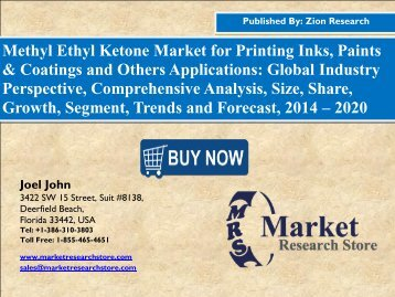 Global Methyl Ethyl Ketone Market Size to Exceed USD 3,150.0 Million by 2020