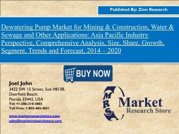 Global Dewatering Pump Market to Expand at 4.40% CAGR till 2020