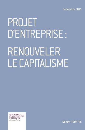 Projet d'entreprise  renouveler le capitalisme