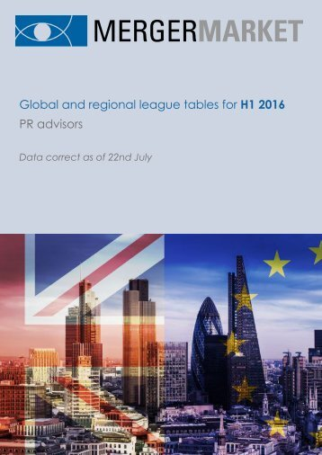 Global and regional league tables for H1 2016 PR advisors