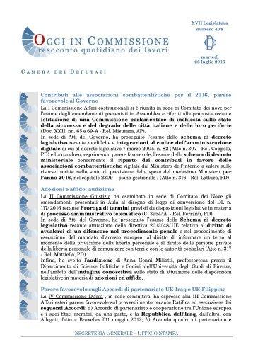 SEGRETERIA GENERALE - UFFICIO STAMPA