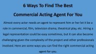 6 Ways To Find The Best Commercial Acting Agent For You
