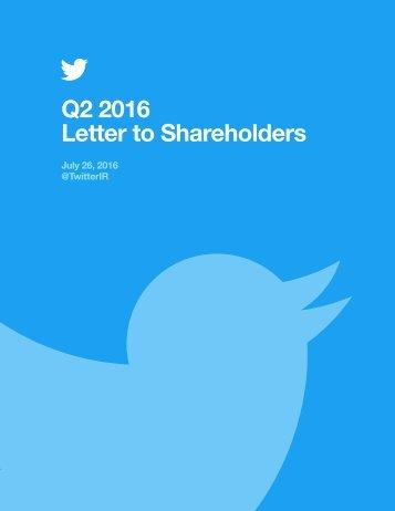 Q2 2016 Letter to Shareholders