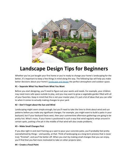 Landscape Design Tips For Beginners