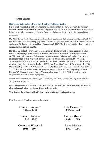 Die Geschichte des Chores der Bucher Schlosskirche