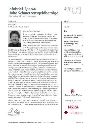 Infobrief Hohe Schmerzensgeldbeträge 01/2016