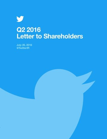 Q2 2016 Letter to Shareholders
