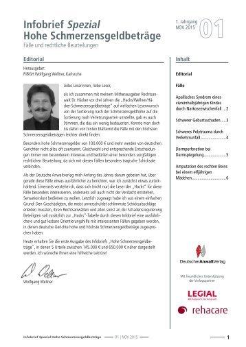 Infobrief Hohe Schmerzensgeldbeträge 01/2015