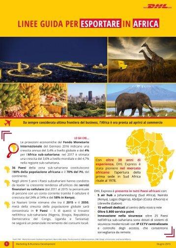 LINEE GUIDA PER ESPORTARE IN AFRICA