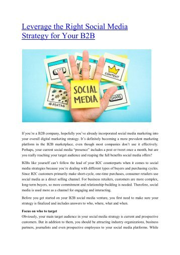 Leverage the Right Social Media Strategy for Your B2B