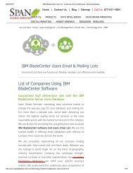 List of IBM BladeCenter using companies' database can be easily customized based on your marketing needs